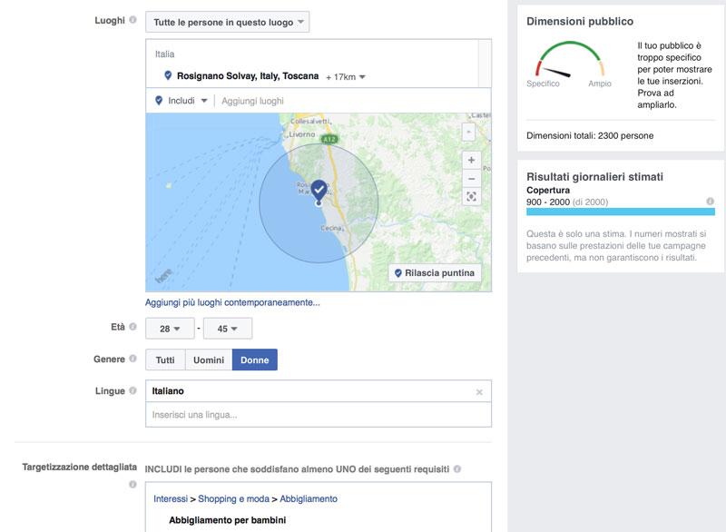 esempio potenzialità Facebook ads